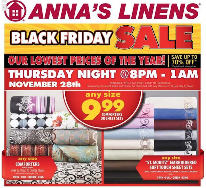Annas Linens Black Friday ad